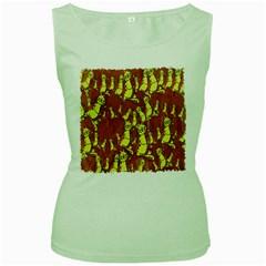 Cartoon Grunge Cat Wallpaper Background Women s Green Tank Top