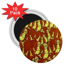Cartoon Grunge Cat Wallpaper Background 2 25  Magnets (10 Pack)  by Nexatart