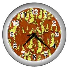 Cartoon Grunge Cat Wallpaper Background Wall Clocks (silver)  by Nexatart