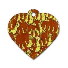 Cartoon Grunge Cat Wallpaper Background Dog Tag Heart (one Side) by Nexatart