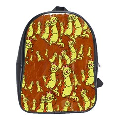 Cartoon Grunge Cat Wallpaper Background School Bags(large)  by Nexatart