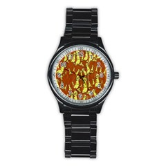 Cartoon Grunge Cat Wallpaper Background Stainless Steel Round Watch by Nexatart
