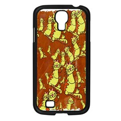 Cartoon Grunge Cat Wallpaper Background Samsung Galaxy S4 I9500/ I9505 Case (black)