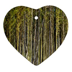 Bamboo Trees Background Heart Ornament (two Sides)