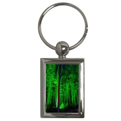 Spooky Forest With Illuminated Trees Key Chains (rectangle)
