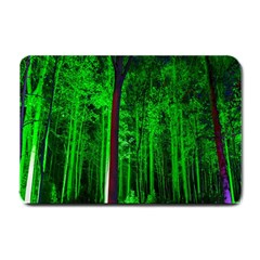 Spooky Forest With Illuminated Trees Small Doormat  by Nexatart