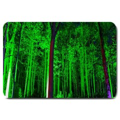 Spooky Forest With Illuminated Trees Large Doormat