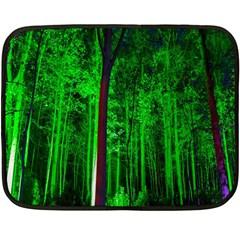 Spooky Forest With Illuminated Trees Fleece Blanket (mini) by Nexatart