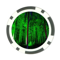 Spooky Forest With Illuminated Trees Poker Chip Card Guard (10 Pack) by Nexatart
