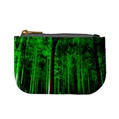 Spooky Forest With Illuminated Trees Mini Coin Purses