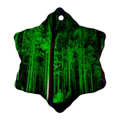 Spooky Forest With Illuminated Trees Snowflake Ornament (two Sides)