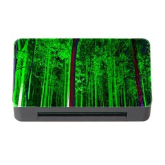 Spooky Forest With Illuminated Trees Memory Card Reader With Cf by Nexatart