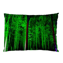 Spooky Forest With Illuminated Trees Pillow Case (two Sides)