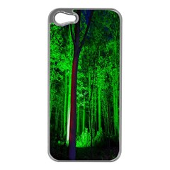 Spooky Forest With Illuminated Trees Apple Iphone 5 Case (silver) by Nexatart
