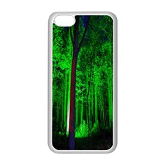 Spooky Forest With Illuminated Trees Apple Iphone 5c Seamless Case (white) by Nexatart