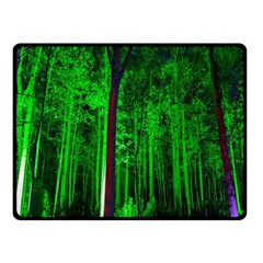 Spooky Forest With Illuminated Trees Double Sided Fleece Blanket (small)