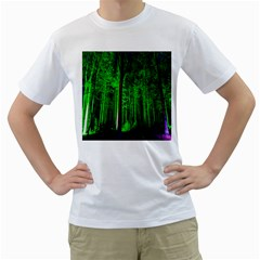 Spooky Forest With Illuminated Trees Men s T Shirt (white)