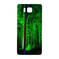 Spooky Forest With Illuminated Trees Samsung Galaxy Alpha Hardshell Back Case by Nexatart
