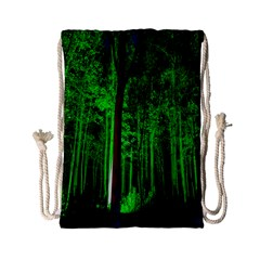 Spooky Forest With Illuminated Trees Drawstring Bag (small) by Nexatart