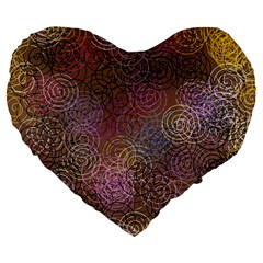 2000 Spirals Many Colorful Spirals Large 19  Premium Heart Shape Cushions by Nexatart
