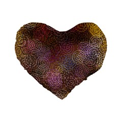 2000 Spirals Many Colorful Spirals Standard 16  Premium Flano Heart Shape Cushions by Nexatart