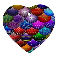 Fun Balls Pattern Colorful And Ornamental Balls Pattern Background Ornament (heart) by Nexatart