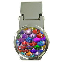Fun Balls Pattern Colorful And Ornamental Balls Pattern Background Money Clip Watches by Nexatart