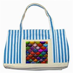 Fun Balls Pattern Colorful And Ornamental Balls Pattern Background Striped Blue Tote Bag by Nexatart