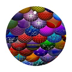 Fun Balls Pattern Colorful And Ornamental Balls Pattern Background Round Ornament (two Sides)