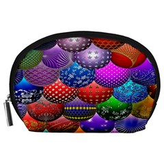 Fun Balls Pattern Colorful And Ornamental Balls Pattern Background Accessory Pouches (large)