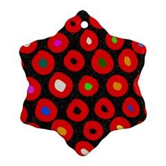 Polka Dot Texture Digitally Created Abstract Polka Dot Design Snowflake Ornament (two Sides)