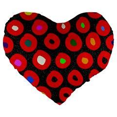 Polka Dot Texture Digitally Created Abstract Polka Dot Design Large 19  Premium Flano Heart Shape Cushions by Nexatart