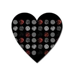Digital Art Dark Pattern Abstract Orange Black White Twenty One Pilots Heart Magnet by Onesevenart