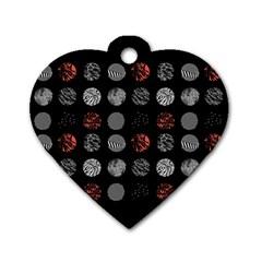 Digital Art Dark Pattern Abstract Orange Black White Twenty One Pilots Dog Tag Heart (two Sides) by Onesevenart