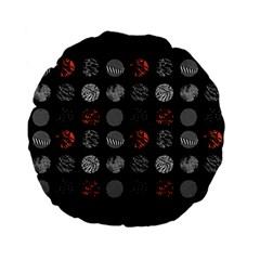 Digital Art Dark Pattern Abstract Orange Black White Twenty One Pilots Standard 15  Premium Flano Round Cushions by Onesevenart