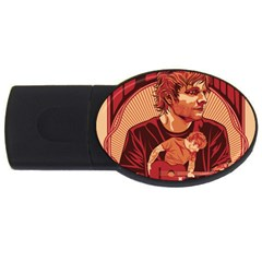 Ed Sheeran Illustrated Tour Poster Usb Flash Drive Oval (4 Gb) by Onesevenart