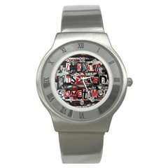 Top Lyrics Twenty One Pilots The Run And Boys Stainless Steel Watch by Onesevenart