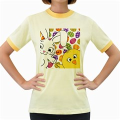 Easter bunny and chick  Women s Fitted Ringer T-Shirts by Valentinaart