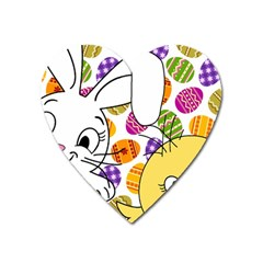 Easter Bunny And Chick  Heart Magnet by Valentinaart