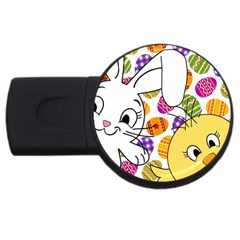 Easter Bunny And Chick  Usb Flash Drive Round (4 Gb) by Valentinaart