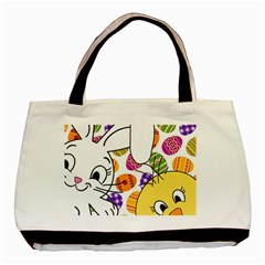 Easter Bunny And Chick  Basic Tote Bag by Valentinaart