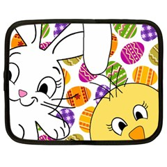 Easter Bunny And Chick  Netbook Case (xl)  by Valentinaart