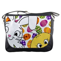Easter Bunny And Chick  Messenger Bags by Valentinaart