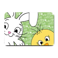 Easter Bunny And Chick  Small Doormat  by Valentinaart