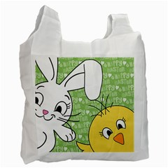 Easter Bunny And Chick  Recycle Bag (two Side)  by Valentinaart