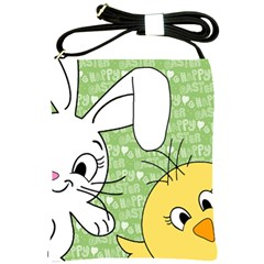 Easter Bunny And Chick  Shoulder Sling Bags by Valentinaart