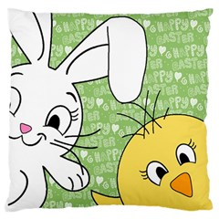 Easter Bunny And Chick  Large Flano Cushion Case (one Side) by Valentinaart