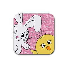 Easter Bunny And Chick  Rubber Coaster (square)  by Valentinaart