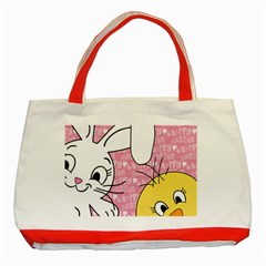 Easter Bunny And Chick  Classic Tote Bag (red) by Valentinaart