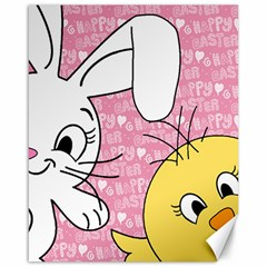 Easter Bunny And Chick  Canvas 16  X 20   by Valentinaart